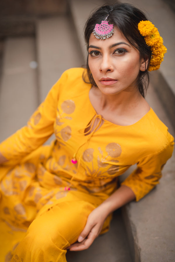 Mustard Block Printed Cotton Kurta