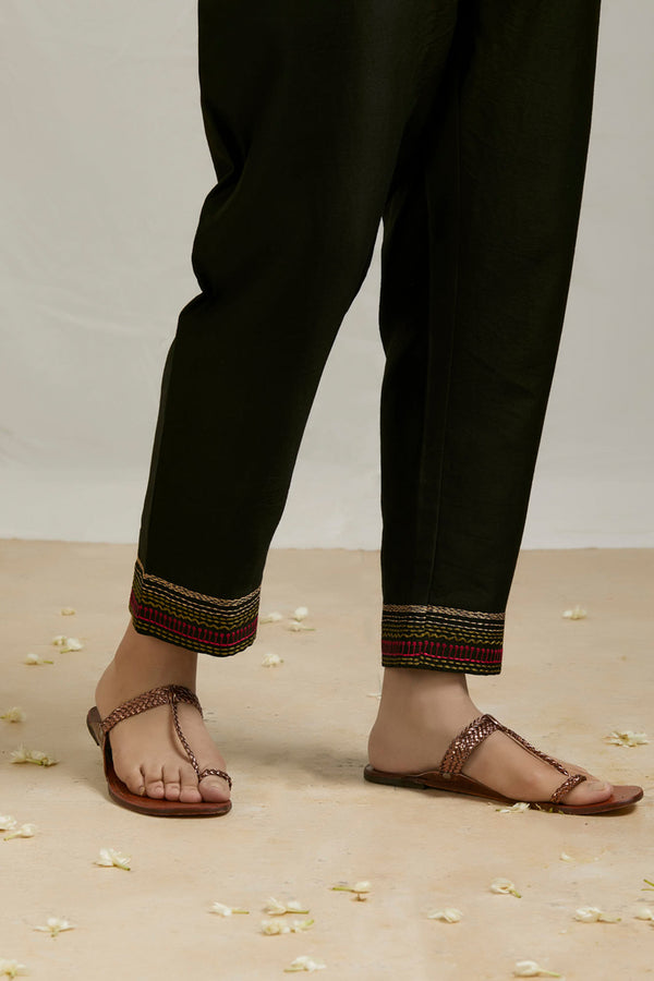 Black Embroidered Chanderi Pant