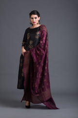 Smoky Dandelion Set with Wine Dupatta (Set of 3)