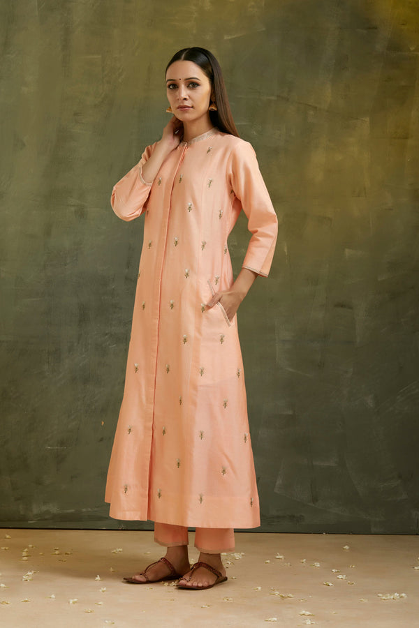 Peach Embroidered Kurta & Pant (Set of 2)