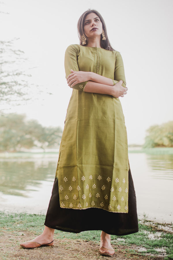 Olive Green Hand Embroidered Floral Kurta