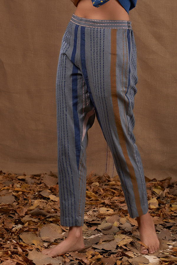 Cobalt Blue Block Cotton Printed Pants