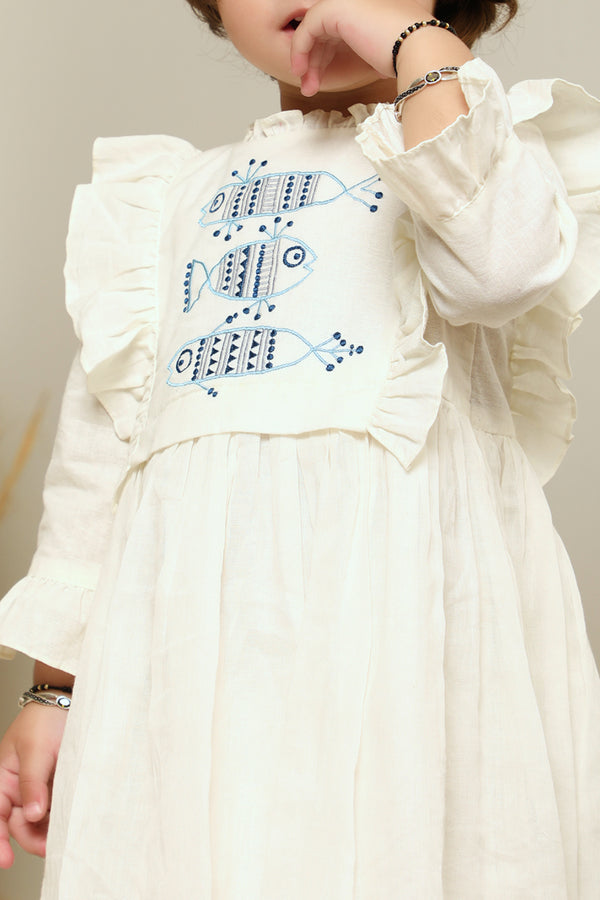 White Thread Embroidered Cotton Dress