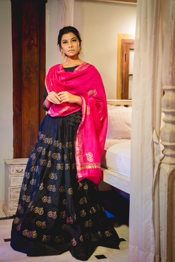 Black Cycle Chanderi Lehenga