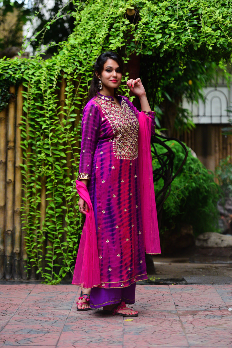 Purple Pink Gota Patti Set with Dupatta (Set of 3)