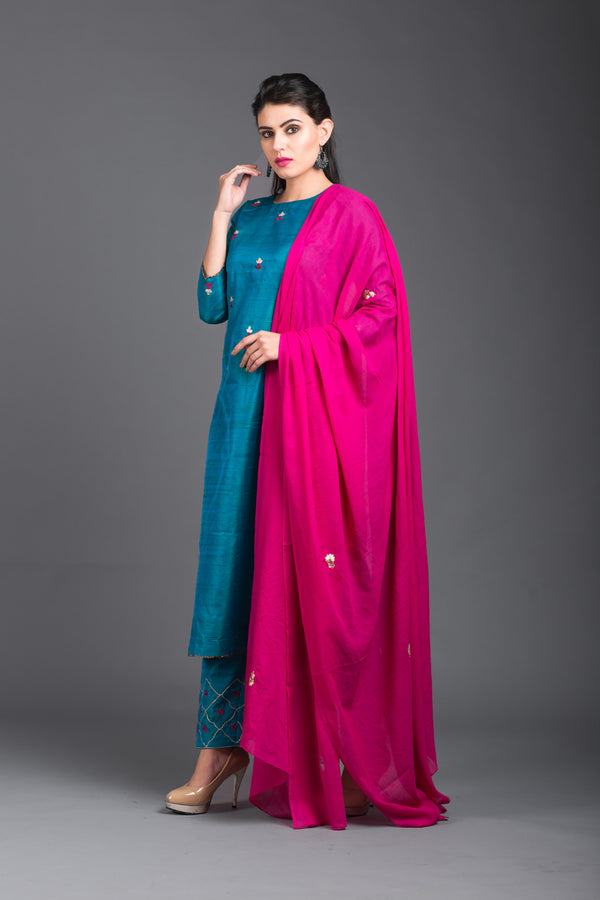 Pink Mulmul Embroidered Dupatta