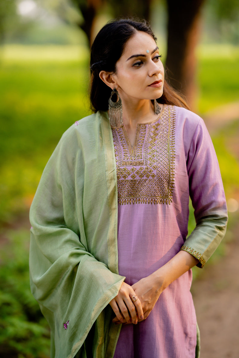 Mint Green Lily Hand Embroidered Chanderi Dupatta