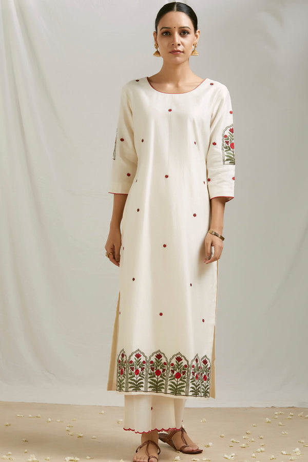 Ivory Embroidered Kurta & Scalloped Palazzo (Set of 2)