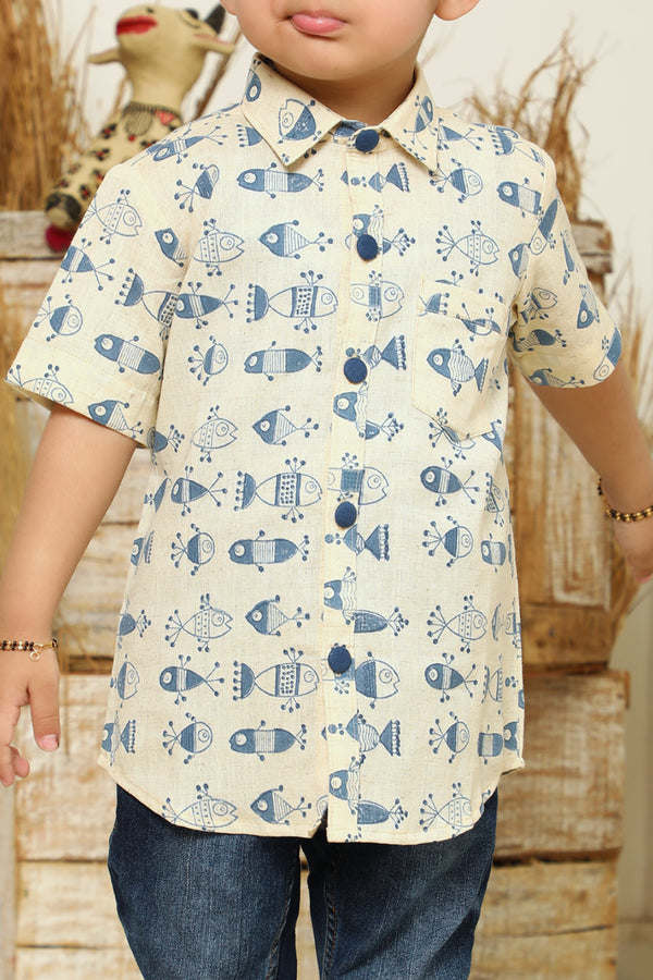 Cream-Neeli Machlee Printed Shirt