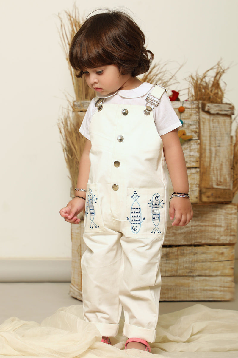 Ivory Machlee Embroidered Denim Romper with Top (Set of 2)
