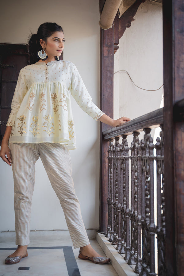Ivory Gold Striped Chanderi Pant