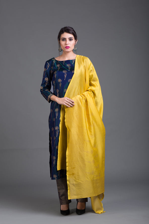 Yellow Chanderi Printed Dupattta