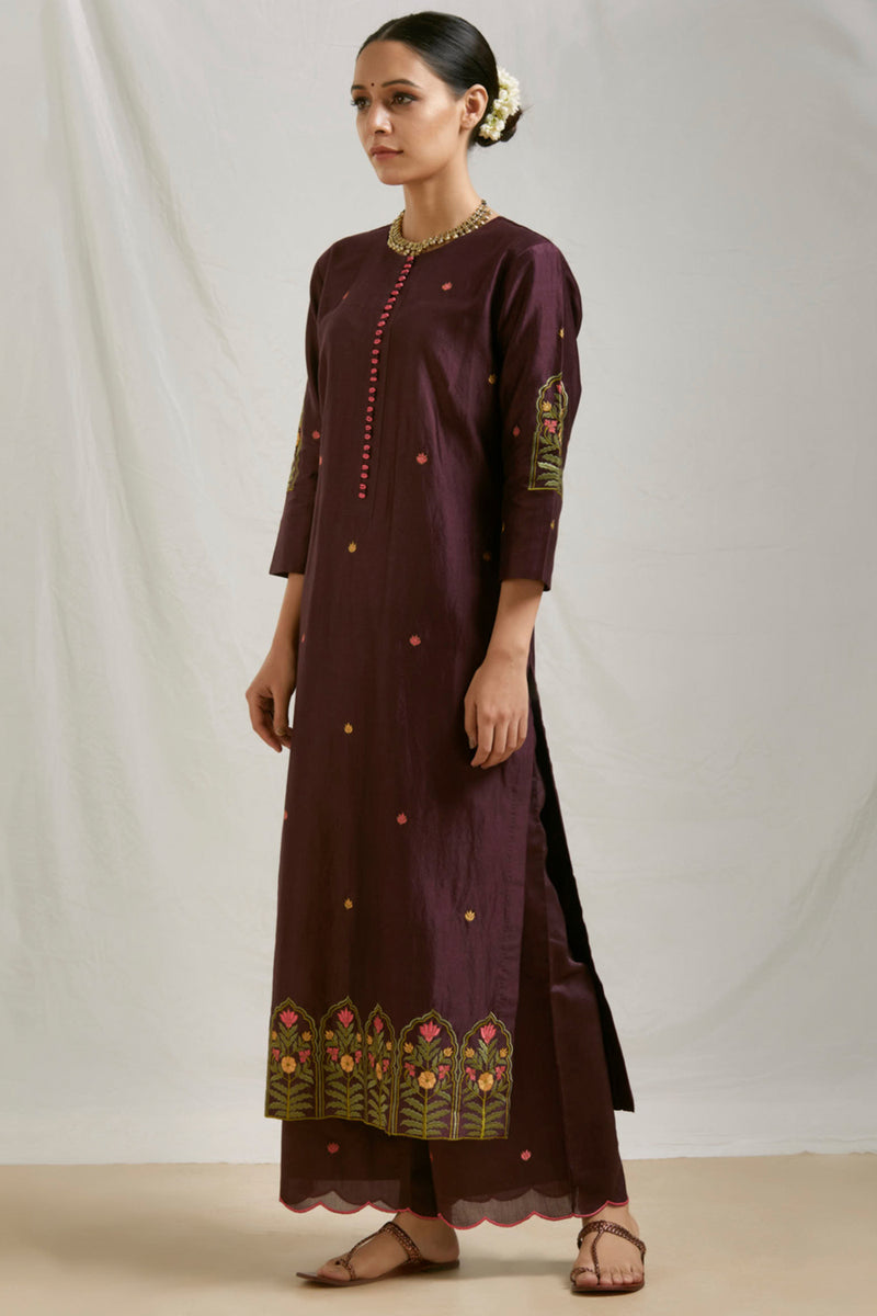 Wine Embroidered Chanderi Kurta