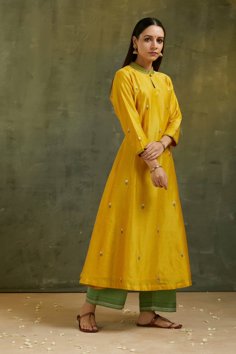 Mustard Embroidered Kurta & Palazzo (Set of 2)