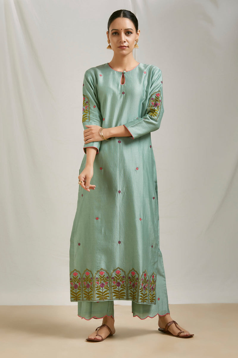 Teal Green Embroidered Kurta Set with Dupatta (Set of 3)