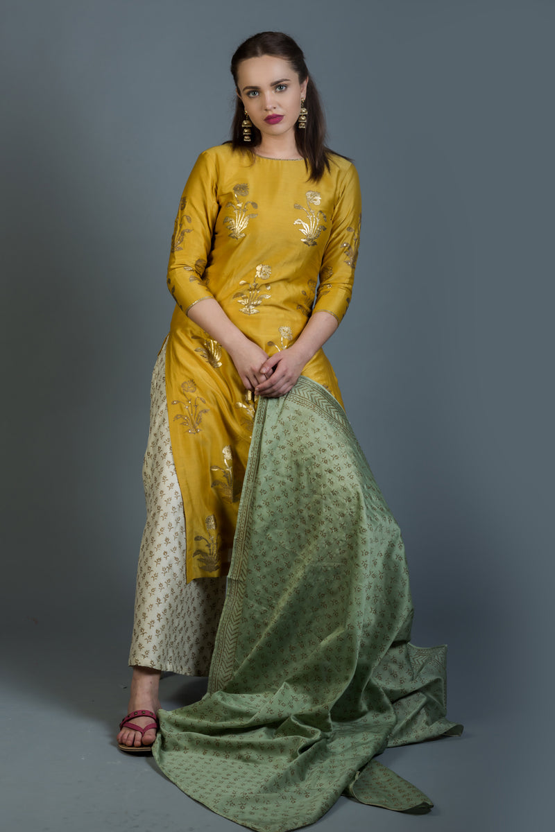 Fern Green Block Printed Chanderi Dupatta