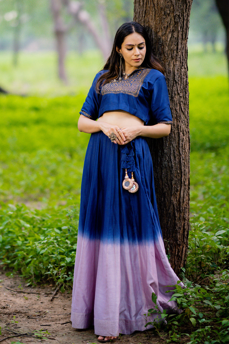 Royal Blue-Lavender Shaded Chanderi Lehenga