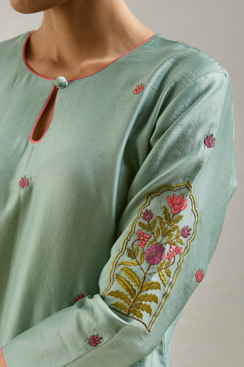 Teal Green Embroidered Chanderi Kurta