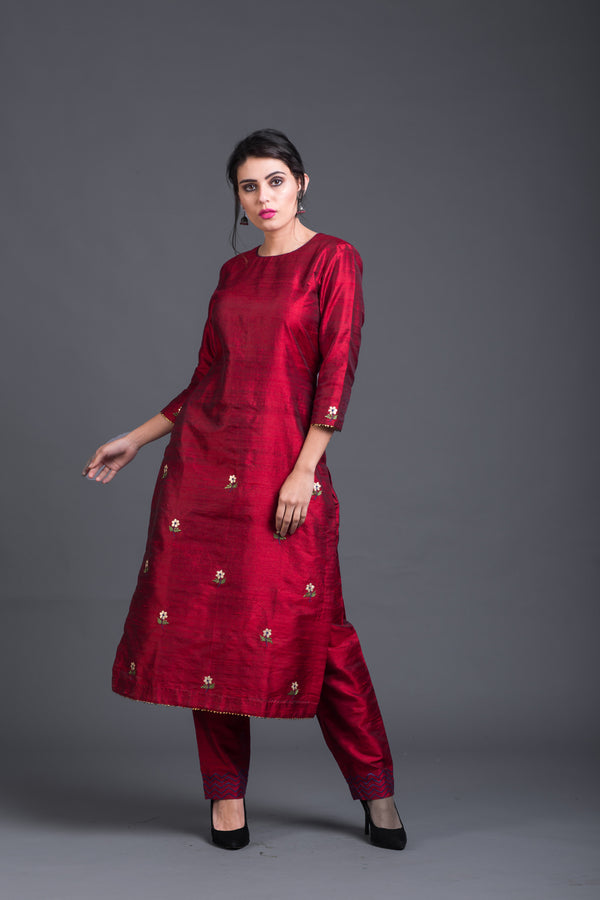 Ruby Floral Embroidered Kurta