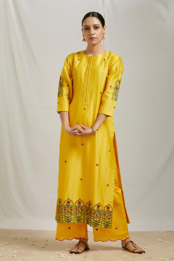 Mustard Embroidered Kurta Set with Dupatta (Set of 3)