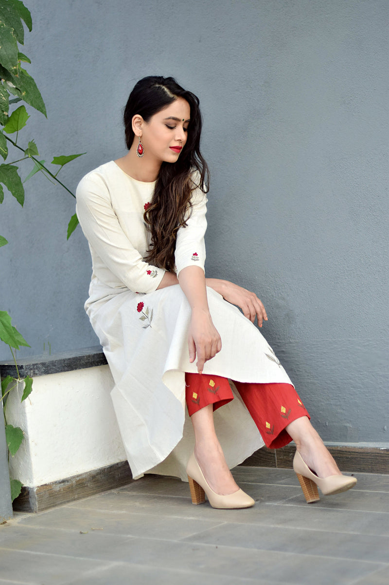 Ivory Mogra Embroidered A Line Kurta & Pant (Set of 2)