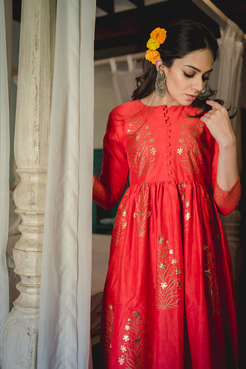 Zubeida Red Chanderi Foil Dress & Palazzo (Set of 2)
