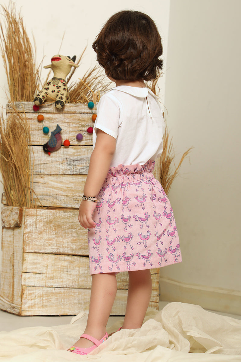 White Top with Pink Hand Block Printed Skirt (Set of 2)