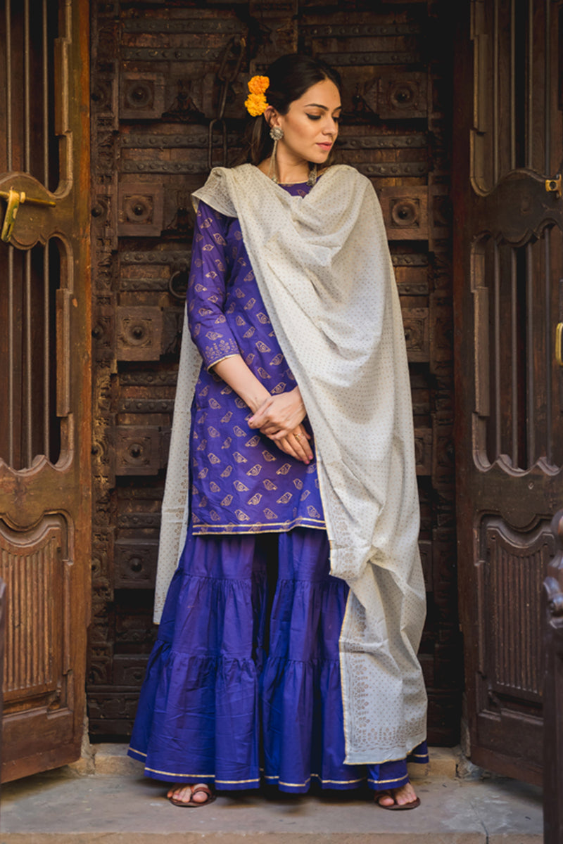 Purple Cotton Sharara