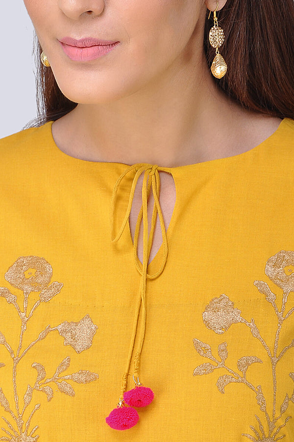 Mustard Block Printed Kurta & Palazzo (Set of 2)