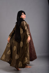 Mehendi Green Mughal Floral Jacket (Set of 2)