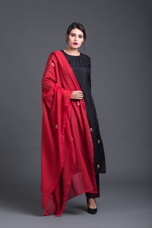 Red Mulmul Embroidered Dupatta