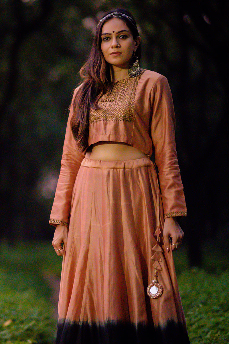 Burnt Pink-Black Shaded Chanderi Lehenga