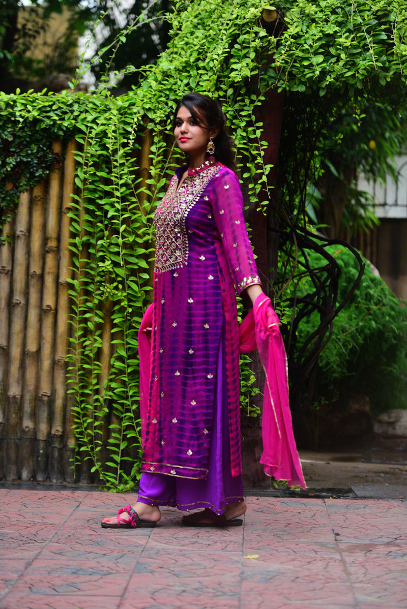 Purple Pink Hand Embroidered Gota Patti Kurta