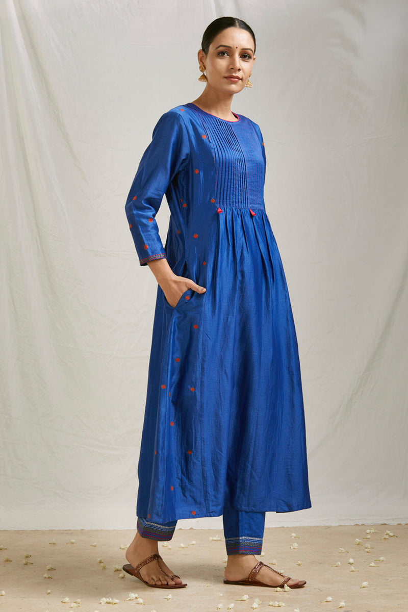 Royal Blue Pintucks Kurta & Pant (Set of 2)