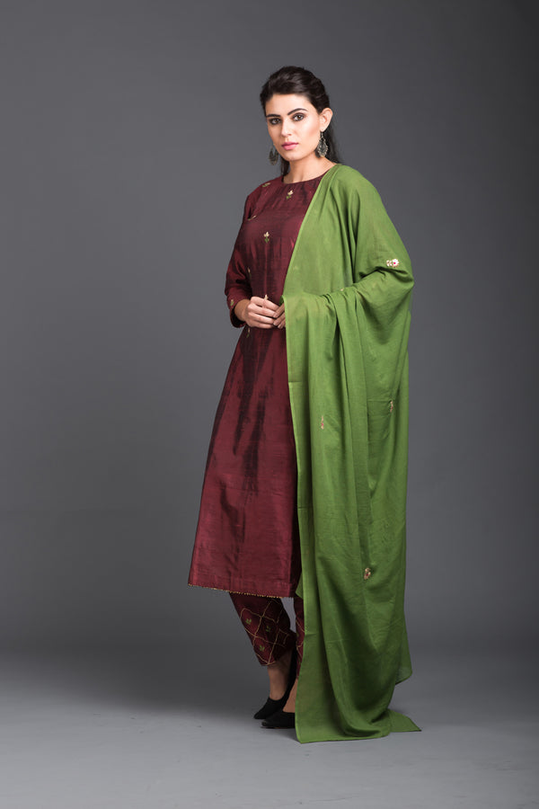 Green Mulmul Embroidered Dupatta