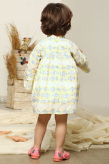 Yellow-Blue Bird Hand Block Printed Dress