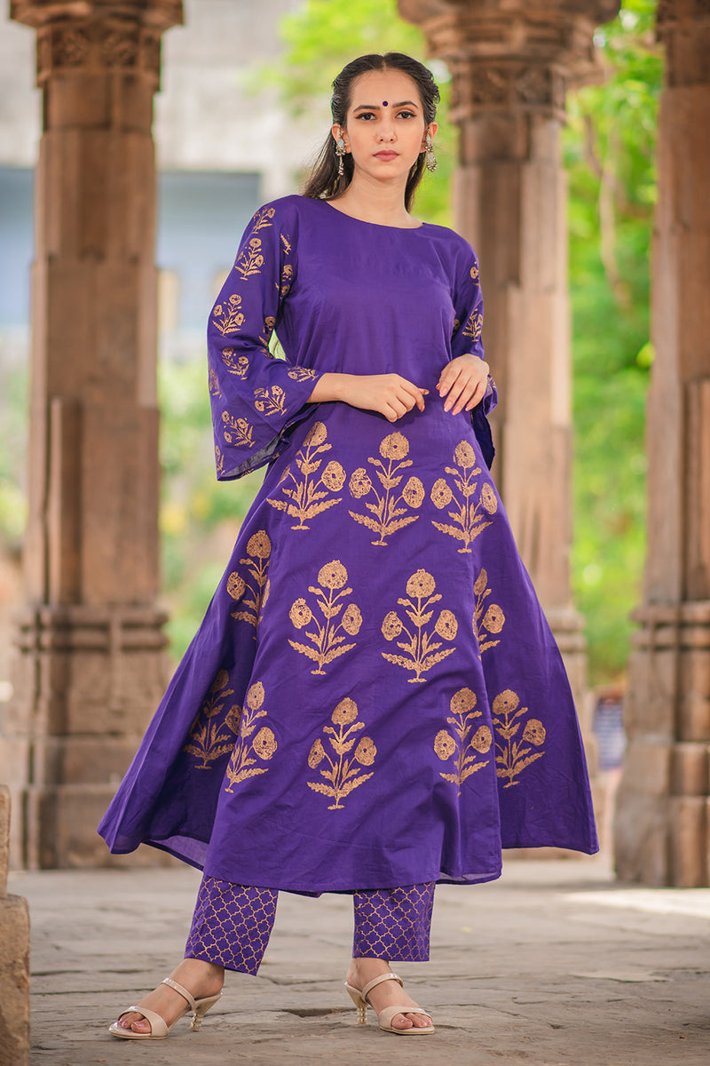 Purple Block Printed A-Line Kurta