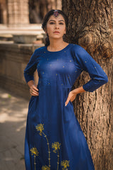 Indigo Dandelion Embroidered Fit & Flare Dress