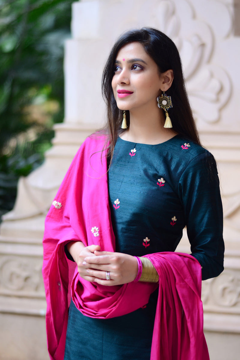 Chrome Floral Set with Pink Dupatta (Set of 3)