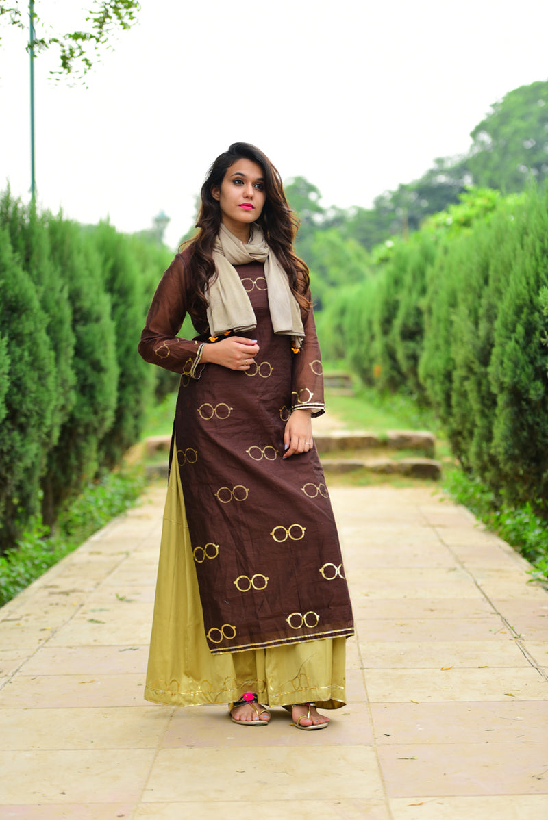 Chashma Set Brown Chanderi Kurta