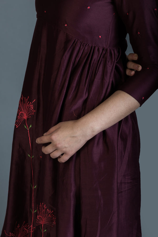 Burgandy Dandelion Embroidered Anarkali & Palazzo (Set of 2)