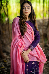 Baby Pink Floral Embroidered Chanderi Dupatta