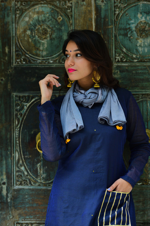 Navy Blue Kurta Set with Dupatta (Set of 3)