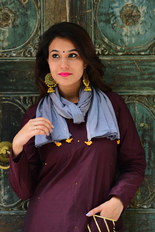 Burgandy Kurta Set with Dupatta (Set of 3)
