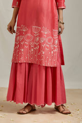 Coral Pink Embroidered Kurta & Sharara (Set of 2)