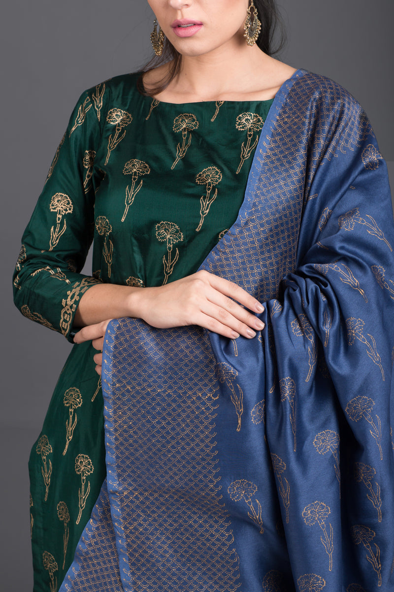 Emerald Silk Set with Blue Chanderi Dupatta (Set of 3)