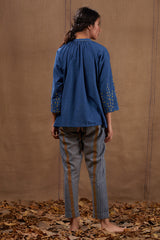 Indigo Embroidered Cotton Top