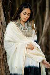 Ivory-Black Shaded Aari Embroidered Chanderi Dupatta