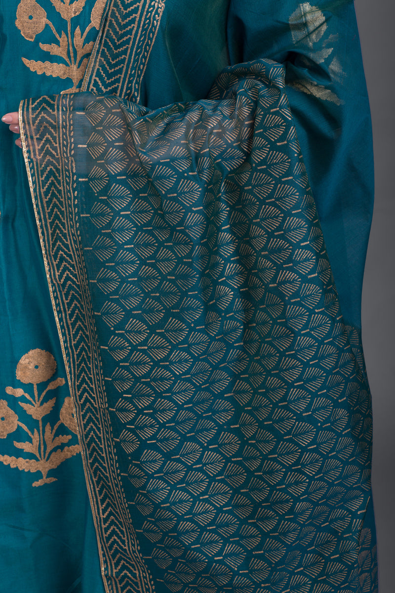Aquamarine Daisy Printed Set with Firozi Dupatta (Set of 3)