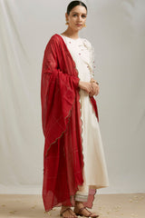 Maroon Embroidered Mulmul Scalloped Dupatta